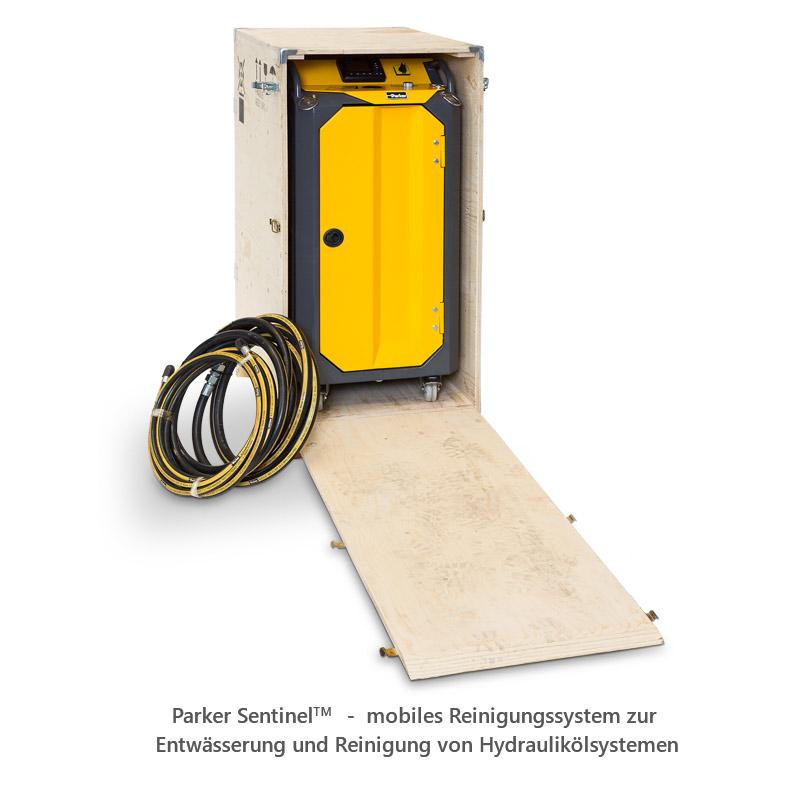 Parker SentinelTM - mobiles Reinigungssystem zur Entwässerung und Reinigung von Hydraulikölsystemen